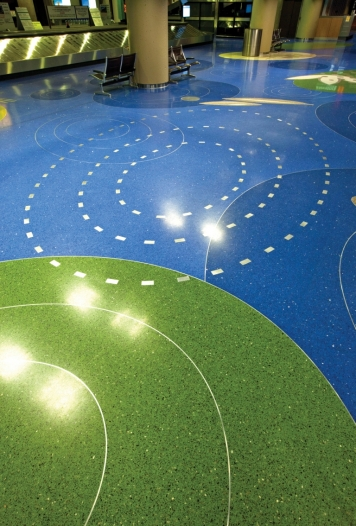 Phoenix Sky Harbor Airport Terrazzo Floor with Heritage Glass Recycled Glass Aggregate